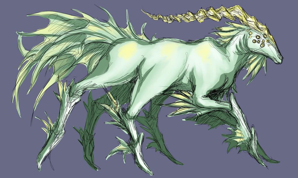 Unicornish thing by Medenadragon