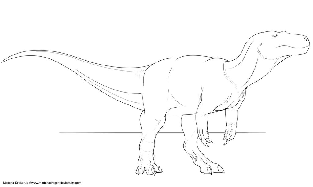 Torvosaurus lineart by Medenadragon