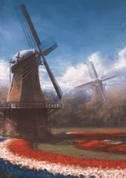 Dutch windmills by stoudaa