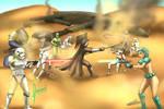 Battle in the Dunes by izanamiinblueart by TheWillofDarthAvis