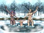 Winter Dip by izanamiinblueart by TheWillofDarthAvis