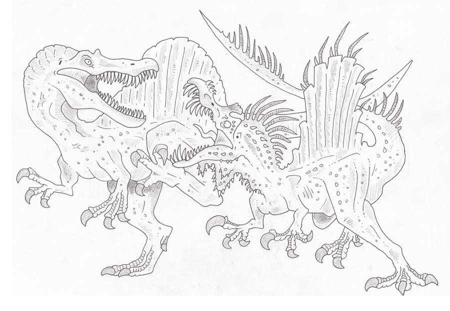 t rex and spinosaurus coloring pages - photo #4