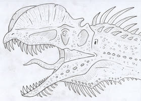Dilophosaurus close up by SommoDracorex