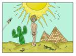 Naked people in desert