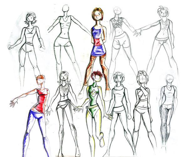 fashion sketch medley by bleedingmoon114 on deviantart