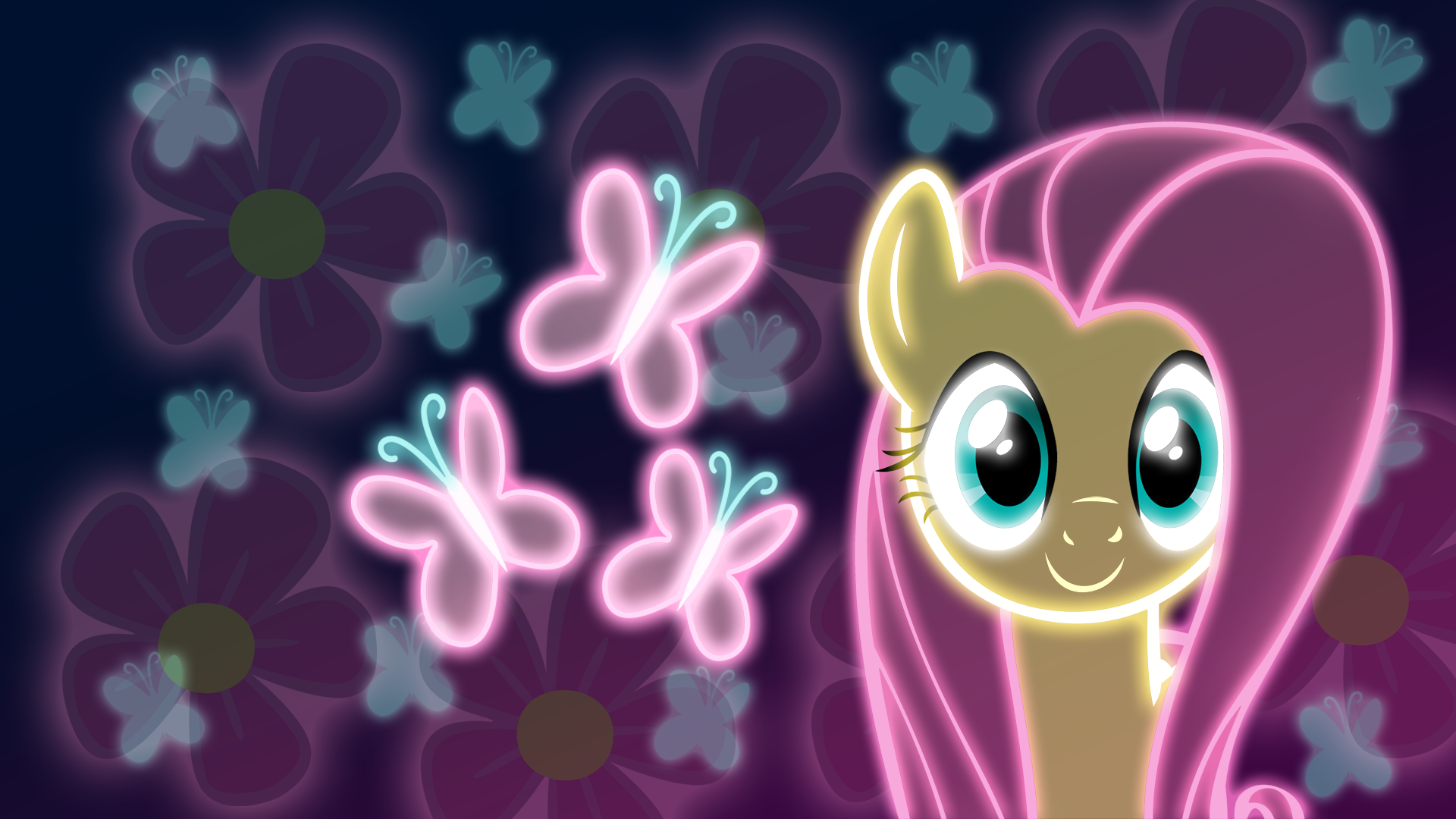 Neon Fluttershy Wallpaper by ZantyARZ