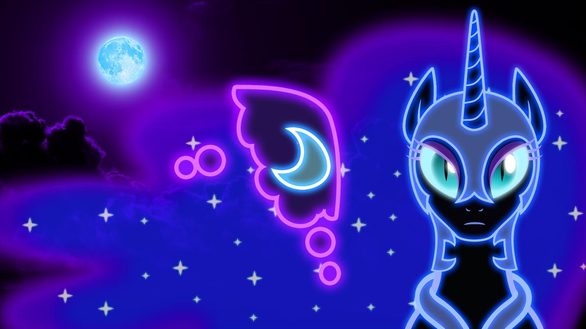 Neon Nightmare Moon Wallpaper by ZantyARZ