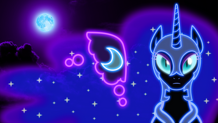 Neon Nightmare Moon Wallpaper by ZantyARZ