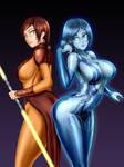 Commission - Bastila Shan and Cortana