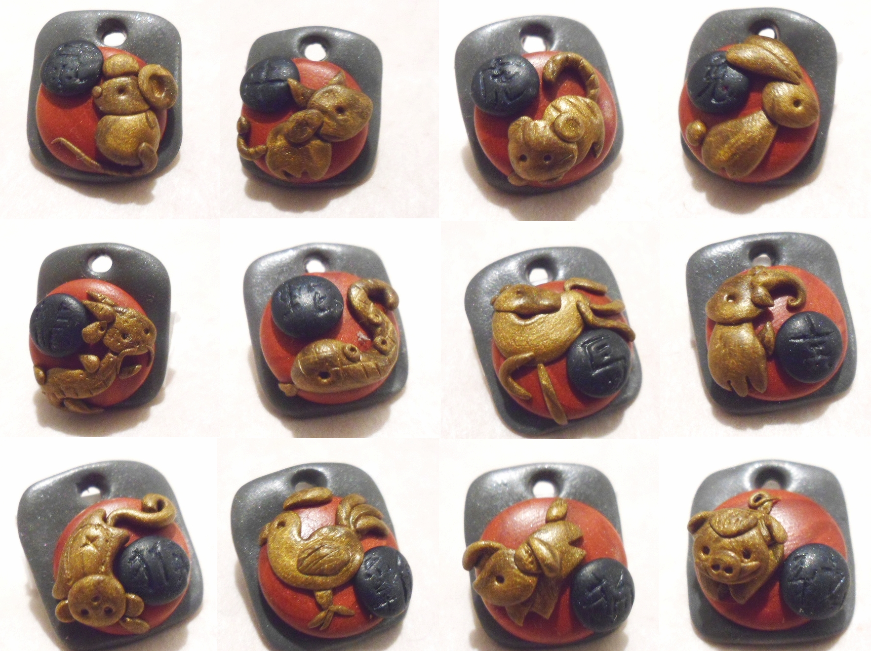 Chinese Zodiac Charms by Saru-Hime