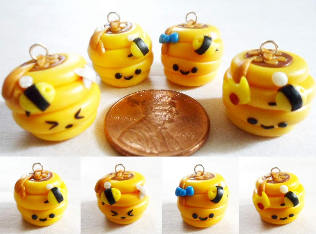 Polymer Clay Beehive Charms by Saru-Hime