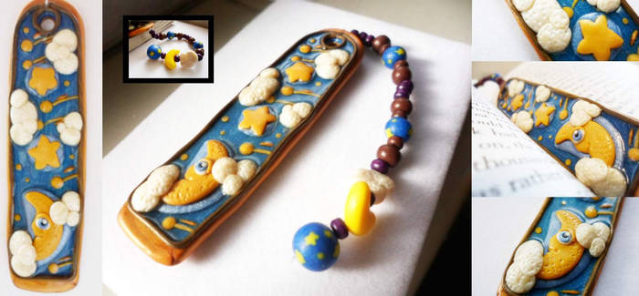 Starry Night Polymer Clay Bookmark