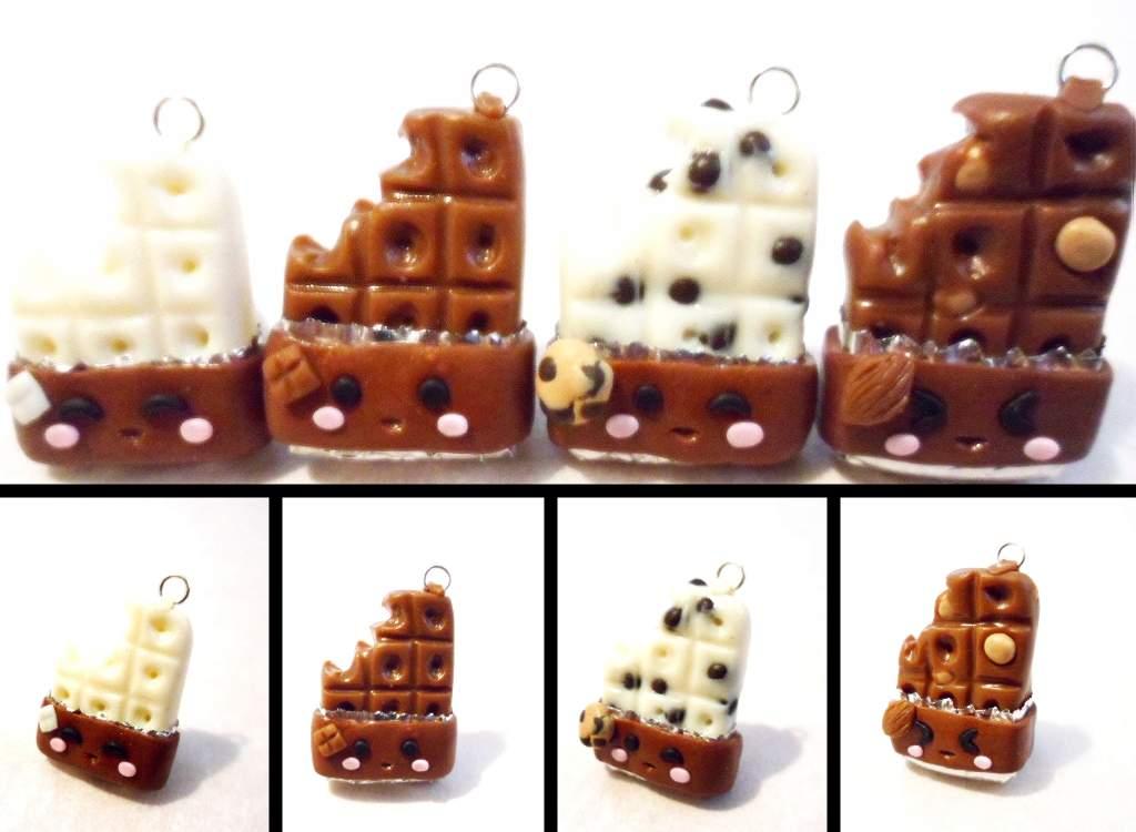 Polymer Clay Chocolate Bar Charms by Saru-Hime
