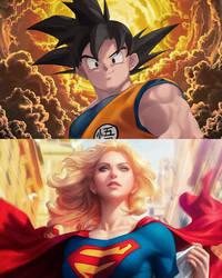 Goku and Supergirl by SatZBoom