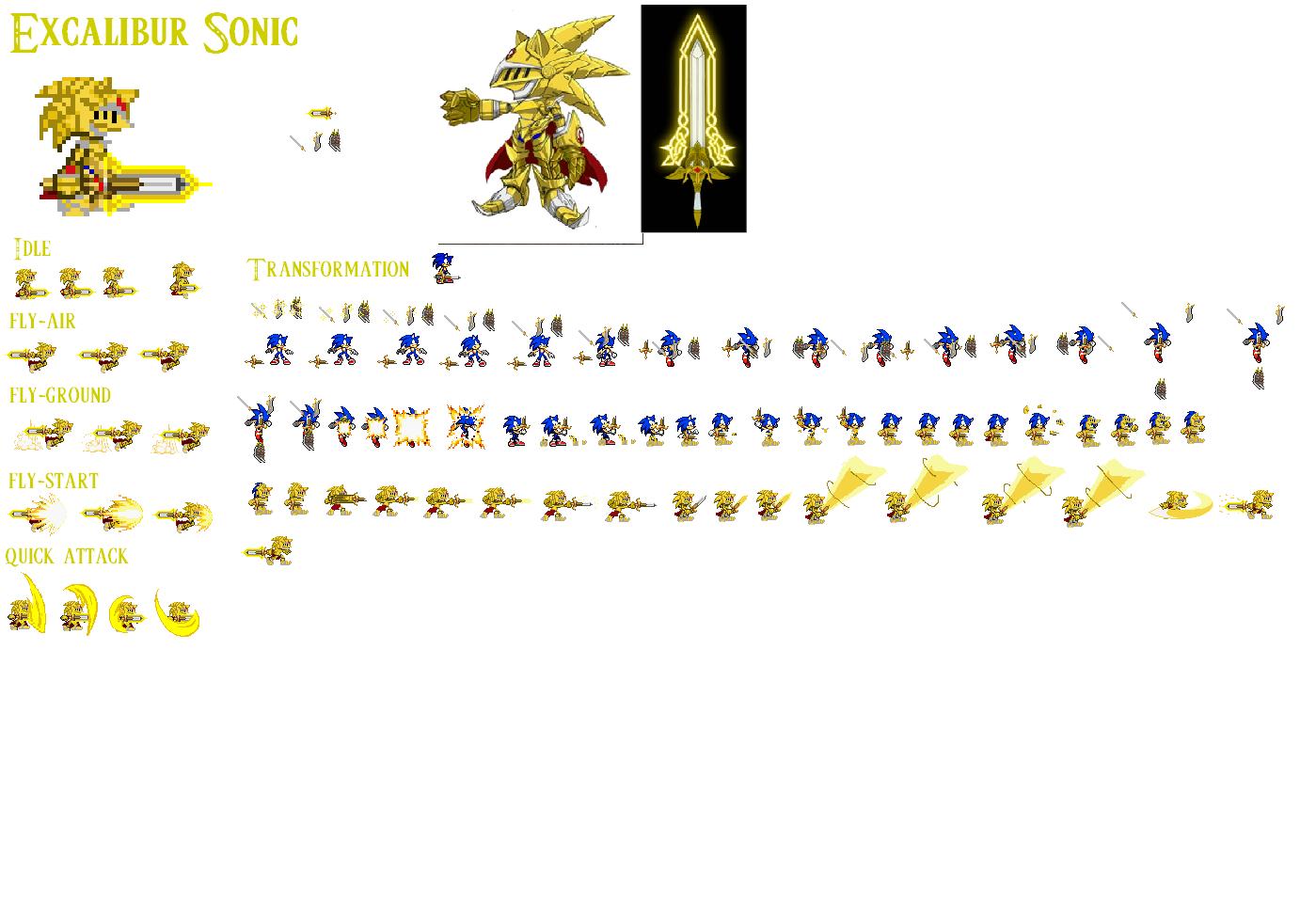 Excalibur Sonic Sprites by mephilesthedark123