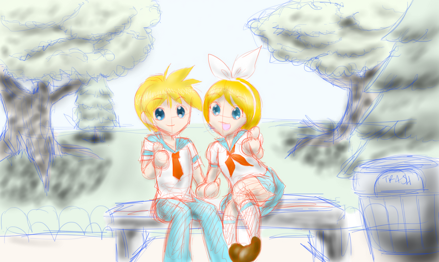 {Sketch} Rin + Len by EverSnow