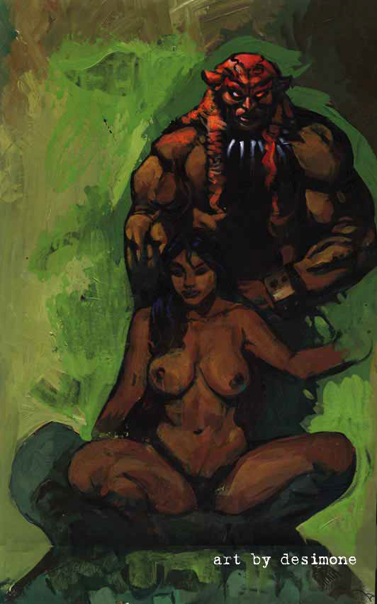 monster and girls nudity and warrior