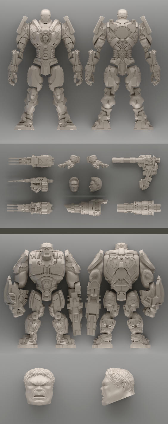 Iron Man + Hulk Redesigns For 3D Printing by Pablo-M