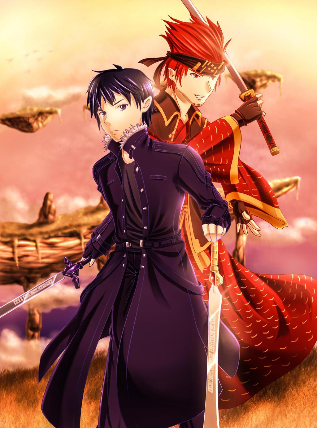 Sword art online kirito and klein by zephx watch fan art manga anime