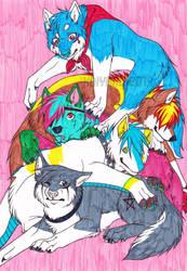 Dog pile -REDRAW- by Kaiyaru