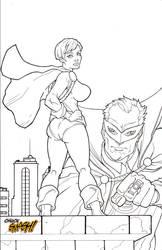 PowerGirl Green Lantern bw by ChuckSmash