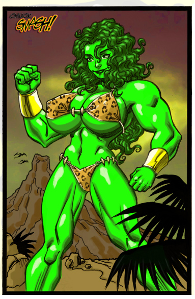 Savage Land She-Hulk in color by ChuckSmash