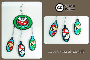 Mario Bros hama dream catcher (Original Pattern) by cristell15