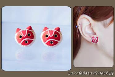 Mononoke Mask earrings - Studio Ghibli by cristell15