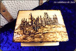 Hogwarts pyrography chest by cristell15