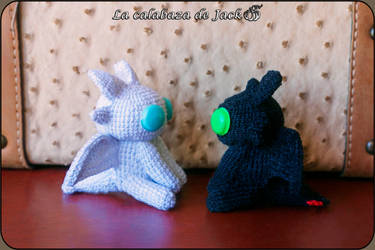 Toothless and light fury Amigurumis by cristell15