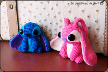 Stitch and Angel Amigurumis by cristell15
