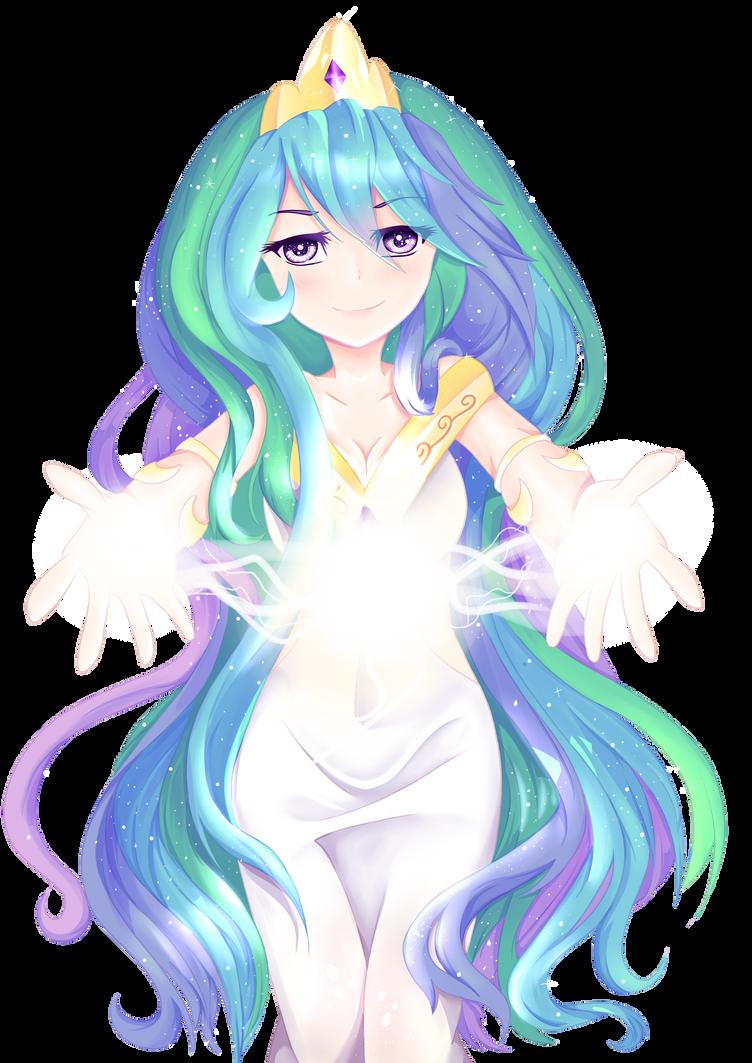 Princess Celestia Human version-(PNG) by Aunmoon on DeviantArt