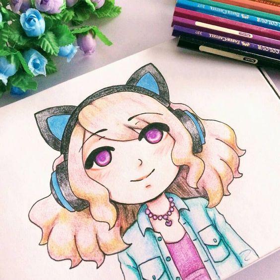 Cute Girl with Cat Headphones