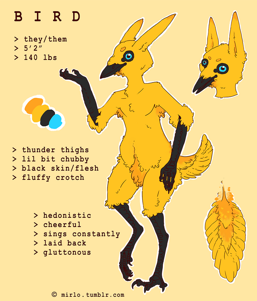 Bird-self thing reference 2016 by Cinnybird