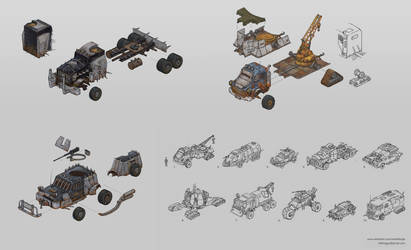 Post-apocalyptic vehicle concepts by Edarneor