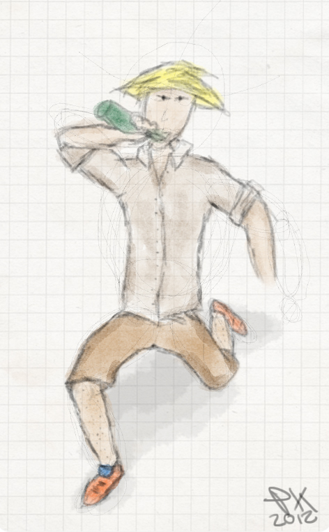 Chinese guy drinking [digital drawing] by terrencephil