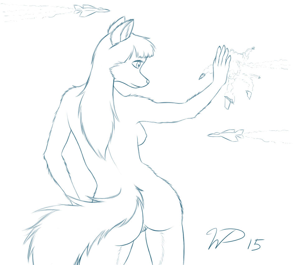 Commission sketch, macro coyote girl by wdeleon