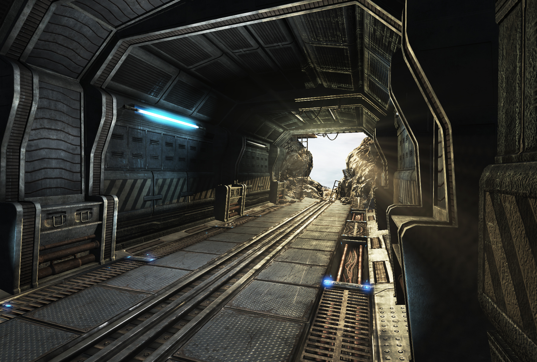 Sci fi corridor destroyed by mellon3d on deviantart for Classic underground house
