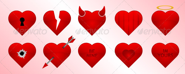 Valentines Day Heart Icons Set