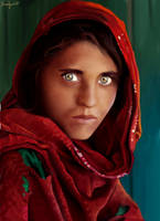 The Afghan Girl by RazSketch