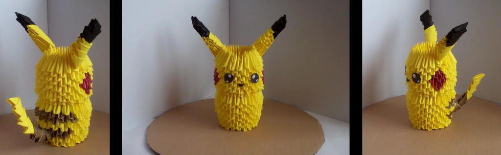 Pikachu Electric Mouse 3D Origami By IssybeeX