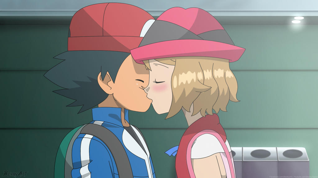 Ash and Serena Kiss Scene Wallpaper by