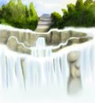 temple n the waterfall
