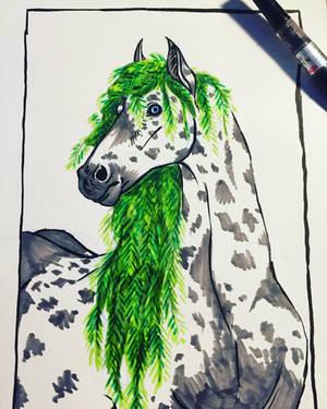 Green horse by weirdiefox