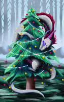 Commission - Christmas Dragon by weirdiefox