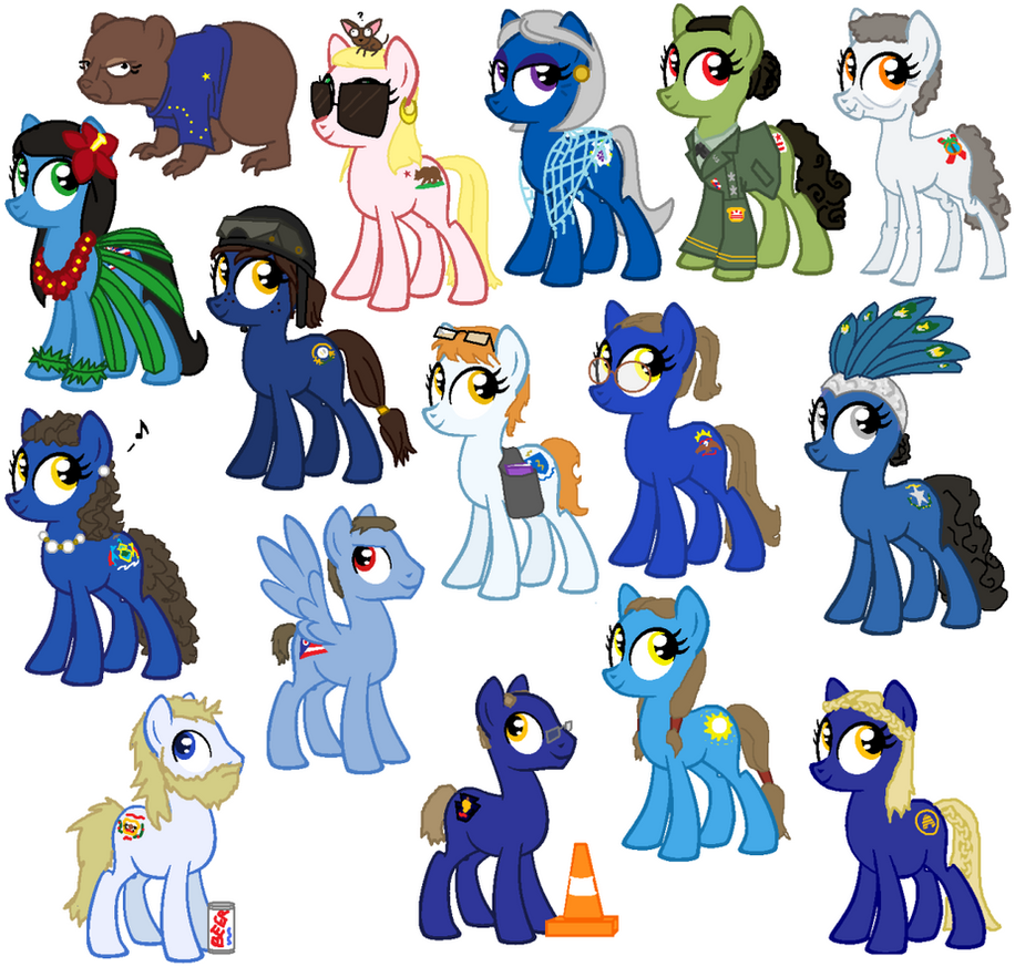 State Ponies - Siblings by Nebulan