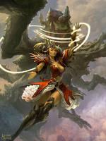 Female Sorcerer and Phantom Beast 1 by velinov