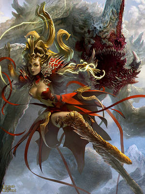 Female Sorcerer and Phantom Beast 2 by velinov