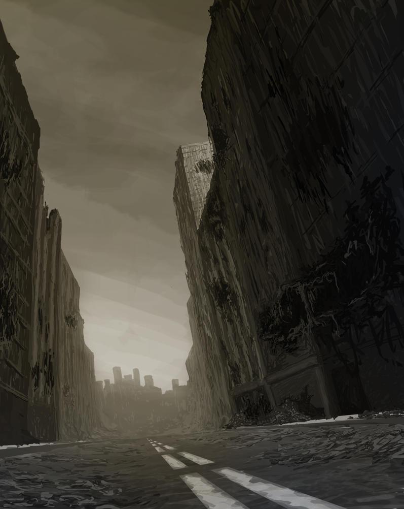 Post Apocalyptic city by jaxko