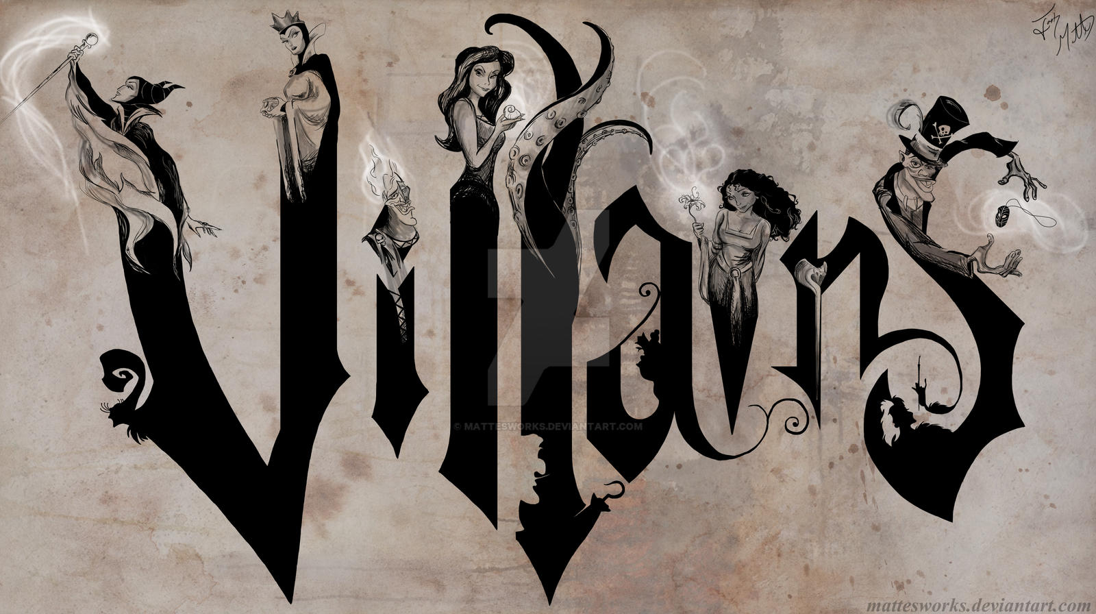 Disney Villain Silhouettes Disney Villains on Canvas by